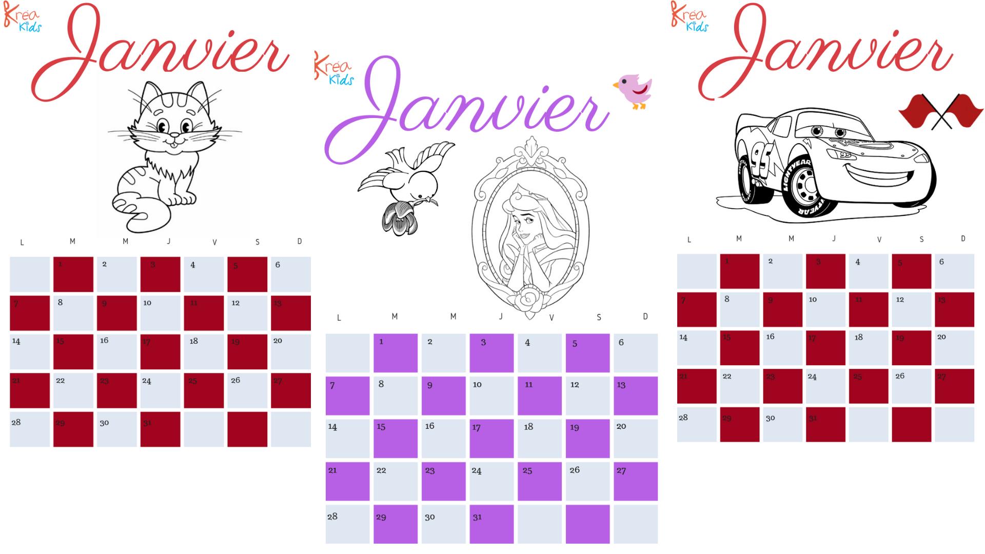 Calendrier 2019 pour enfant à colorier à vous de choisir!